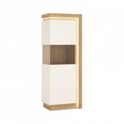Egyajtós vitrin LED világítással 3 polccal balos, fehér-tölgy - ARIZONA